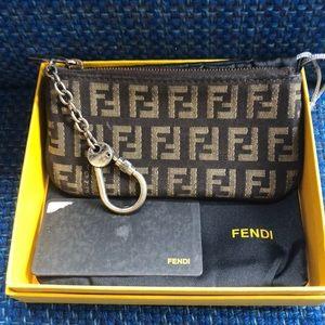 Fendi brown vintage logo change purse